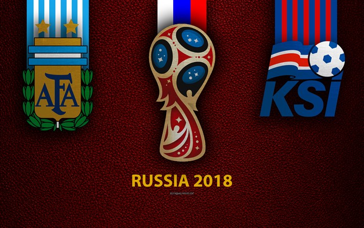 Argentina vs Iceland, 4k, Group D, football, 16 June 2018, logos, 2018 FIFA World Cup, Russia 2018, burgundy leather texture, Russia 2018 logo, cup, Iceland, Argentina, national teams, football match