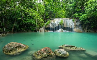 beautiful green lake, waterfall, tropical forest, Thailand, stones, jungle