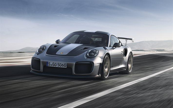 download wallpapers porsche 911 gt2 rs 2018 racing cars sports car gray 911 porsche for. Black Bedroom Furniture Sets. Home Design Ideas