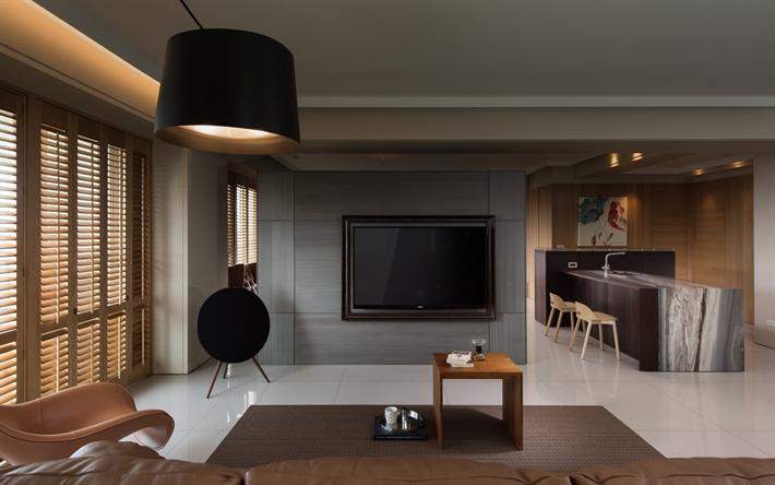 stylish interior, living room, gray walls, kitchen, dining room, modern interior design, stylish black chandelier