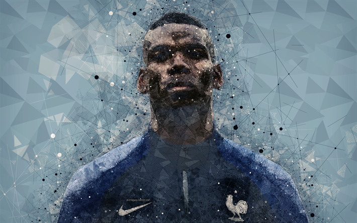 Download Wallpapers Paul Pogba, 4k, Art, France National