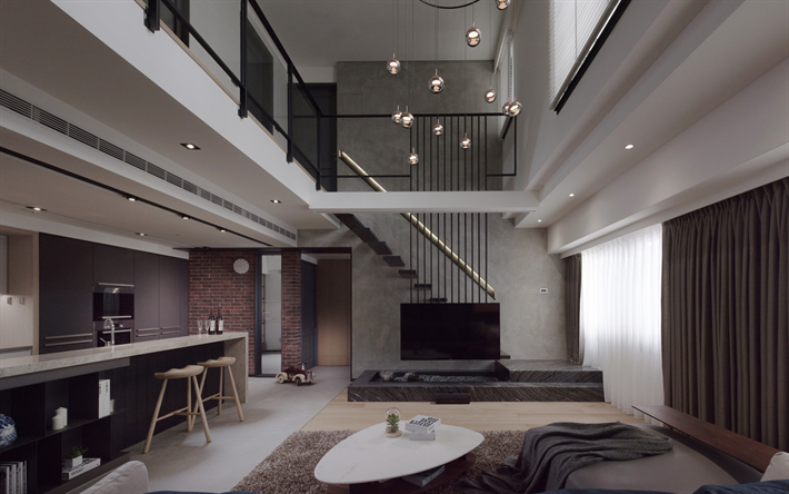 Download Wallpapers Stylish Design For Two Storey Apartments Loft Images, Photos, Reviews