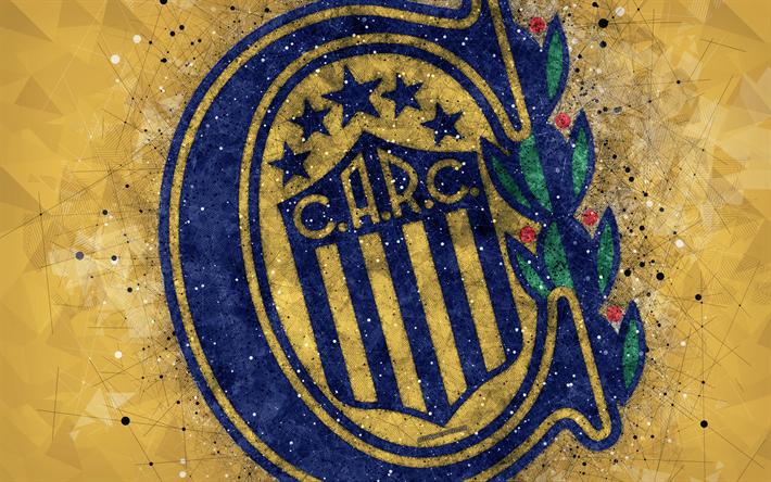 Download Wallpapers Ca Rosario Central 4k Logo Geometric Art