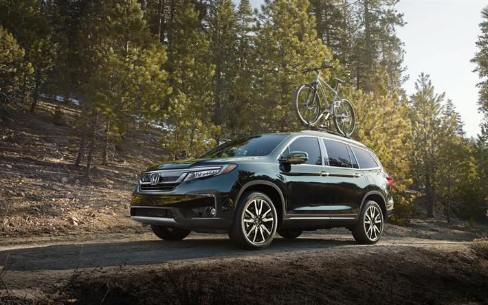 4k, Honda Pilot, Montanhas, 2019 Carros, SUVs, Offroad, 2019 Honda