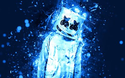 Marshmello, 4k, blue neon, american DJ, superstars, fan art, DJ Marshmello, DJs, Christopher Comstock