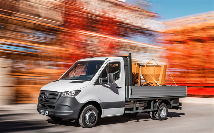 Mercedes-Benz Sprinter Cab Chassis, motion blur, 2019 trucks, plant, cargo transport, new Sprinter, Mercedes