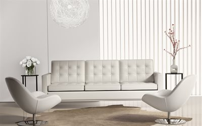 stylish light interior, living room, white leather sofa, stylish armchairs, modern interior design
