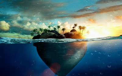 Tropical island, 3d island, travel concepts, palms, island heart, summer