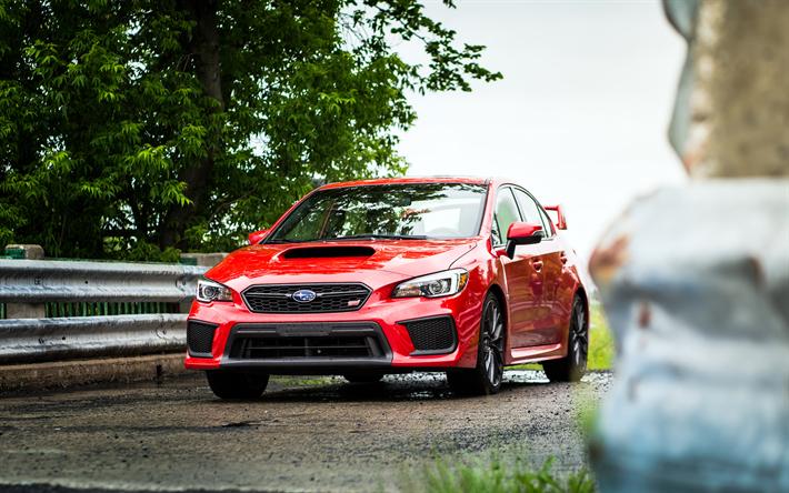 Descargar fondos de pantalla Subaru Impreza WRX STI, 2018, el sedán  Deportivo, rojo Impreza, los coches Japoneses, Subaru libre. Imágenes  fondos de descarga gratuita