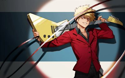 Boku no Hero Academia, Manga, guy with guitar, yellow guitar