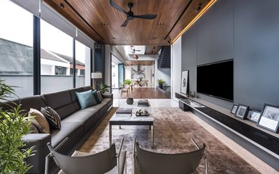 stylish living room interior design, loft style, brown marble floor, living room, modern interior design, gray leather sofa in the living room