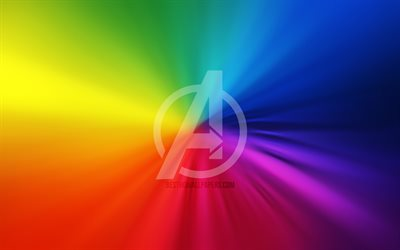 Avengers logo, 4k, artwork, superheroes, rainbow backgrounds, Avengers
