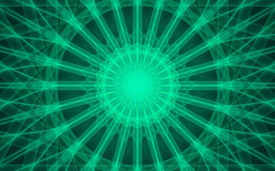 Green Kaleidoscope background, green abstract background, circular abstraction, Kaleidoscope, green pattern background