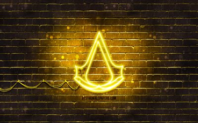 Assassins Creed yellow logo, 4k, yellow brickwall, Assassins Creed logo, 2020 games, Assassins Creed neon logo, Assassins Creed