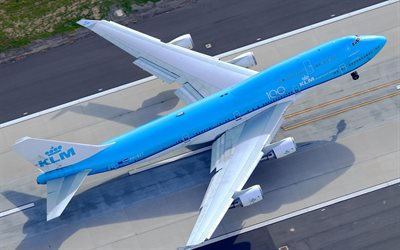 Boeing 747-400, Royal Dutch Airlines, KLM, aircraft taking off, passenger airliner, boeing taking off, Boeing