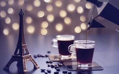 coffee cups, Eiffel Tower figurine, coffee in Paris, coffee concepts, coffee beans, travel to Paris, France