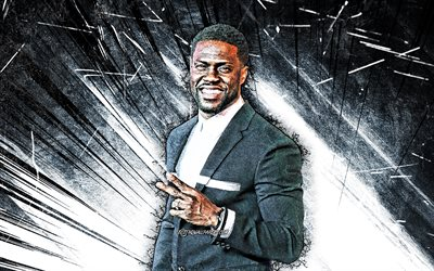 4k, Kevin Hart, grunge art, american actor, movie stars, Hollywood, Kevin Darnell Hart, white abstract rays, american celebrity, creative, Kevin Hart 4K