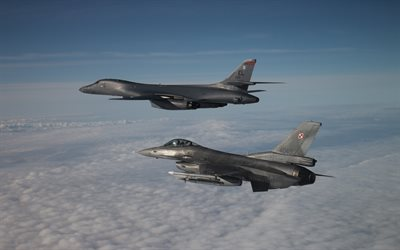 Rockwell B-1 Lancer, B-1B, supersonic heavy bomber, General Dynamics F-16 Fighting Falcon, F-16, American combat aircraft, United States Air Force, American bomber, USAF