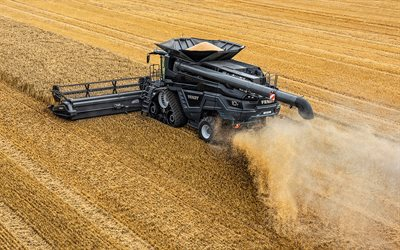Fendt Ideal 10T, 4k, wheat harvesting, 2020 combines, black combine, combine-harvester, agricultural machinery, Fendt