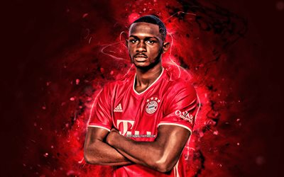 Tanguy Nianzou, 2020, Bayern Munich FC, Croatian footballers, Bundesliga, Tanguy Nianzou Kouassi, red neon lights, soccer, Germany, Tanguy Nianzou Bayern Munich, Tanguy Nianzou 4K
