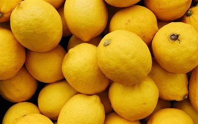 lemons, citruses, yellow lemons background, lemon texture, lemon background