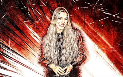 4k, Lele Pons, grunge art, american celebrity, internet celebrity, american singer, Eleonora Pons Maronese, red abstract rays, creative, Lele Pons 4K