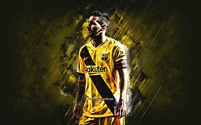 Lionel Messi, FC Barcelona, argentine football player, portrait, yellow stone background, football, yellow FC Barcelona uniform, Leo Messi
