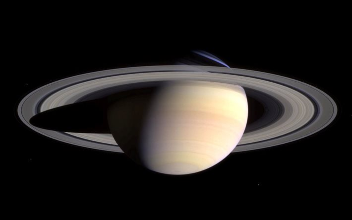 Saturn, 4k, white planet, 3D art, galaxy, sci-fi, universe, NASA, planets, Saturn from space, digital art