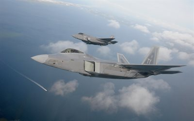 Lockheed F-22 Raptor, Lockheed Martin F-35 Lightning II, F-22, F-35, American fighters, USAF, american combat aircraft, US Air Force