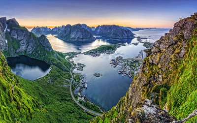 Lofoten, evening, sunset, islands, rocks, mountain landscape, seascape, Norwegian Sea, Norway