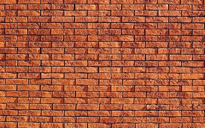brown bricks background, 4k, close-up, brown bricks, brown brickwall, bricks textures, brick wall, bricks, wall, bricks background, brown stone background, identical bricks
