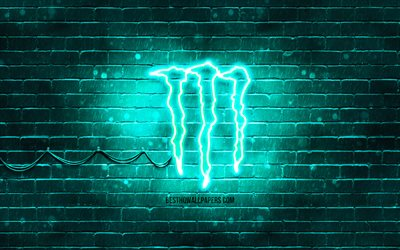 Monster Energy turquoise logo, 4k, turquoise brickwall, Monster Energy logo, drinks brands, Monster Energy neon logo, Monster Energy