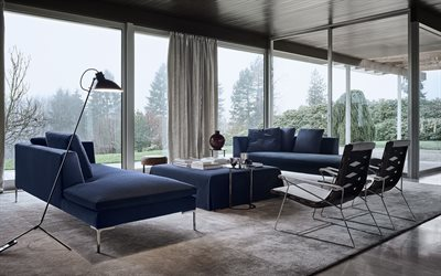 stylish interior design, living room, retro style, scandinavian style, blue sofas in the living room, country house