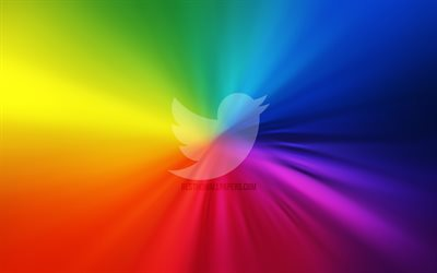 Twitter logo, 4k, vortex, social networks, rainbow backgrounds, creative, artwork, brands, Twitter