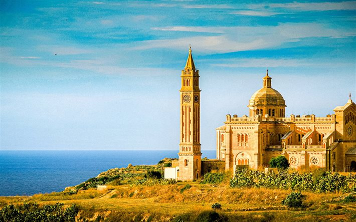 Basilica of the National Shrine of the Blessed, Malta, Mediterranean Sea, catholic temple, evening, sunset, seascape
