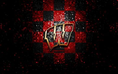 wisconsin badgers, glitter, logo, ncaa, rot schwarz kariert, hintergrund, usa, american-football-team, wisconsin badgers-logo, mosaik-kunst, american football, amerika