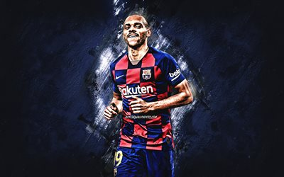 Martin Braithwaite, Danish footballer, FC Barcelona, football, blue stone background, creative art, La Liga