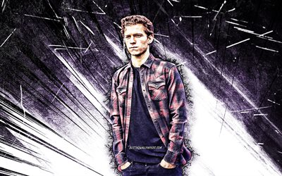 4k, Tom Holland, grunge art, british actor, movie stars, fan art, Thomas Stanley Holland, british celebrity, violet abstract rays, creative, Tom Holland 4K