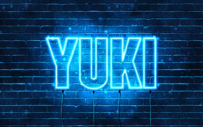 Yuki, 4k, wallpapers with names, horizontal text, Yuki name, Happy Birthday Yuki, popular japanese male names, blue neon lights, picture with Yuki name