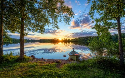 Finland, sunset, lake, forest, summer, beautiful nature, Europe