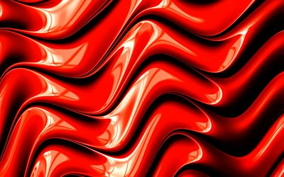 3d waves, creative, 5k, art, red waves