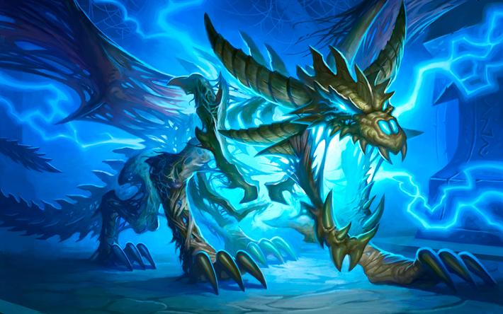 download wallpapers dragon 4k art blue lightning for