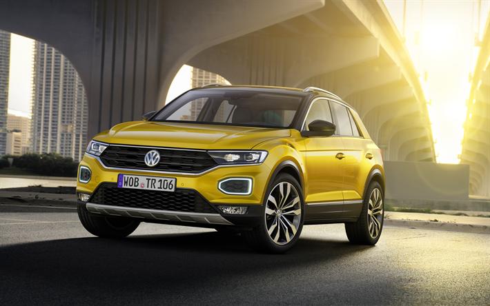 t l charger fonds d 39 cran 4k la volkswagen t roc 2018 voitures vus jaune t roc vw. Black Bedroom Furniture Sets. Home Design Ideas