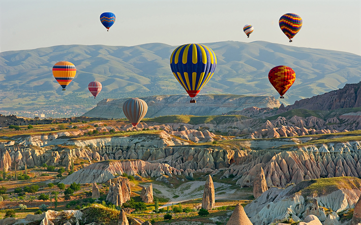 Download Wallpapers Balloons Mountains Cappadocia Turkey Summer For Desktop Free Pictures For Desktop Free