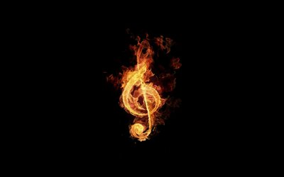 fiery treble clef, minimal, black background, fire, treble clef, creative