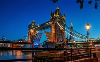 London, Tower Bridge, evening, sunset, landmark, Thames river, England, Great Britain