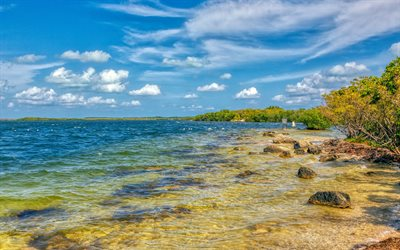 coast, ocean, summer, waves, hdr, Key Largo, Florida, USA