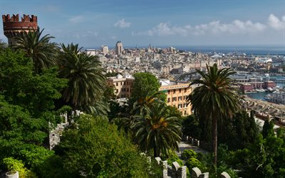 Genoa, cityscape, summer, seaport, beautiful city, Genoa panorama, Genoa skyline, Liguria, Italy
