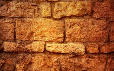 brown old brickwall, close-up, brown bricks, bricks textures, brown brick wall, bricks, wall, brown brickwall, brown bricks background