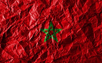 Moroccan flag, 4k, crumpled paper, African countries, creative, Flag of Morocco, national symbols, Africa, Morocco 3D flag, Morocco